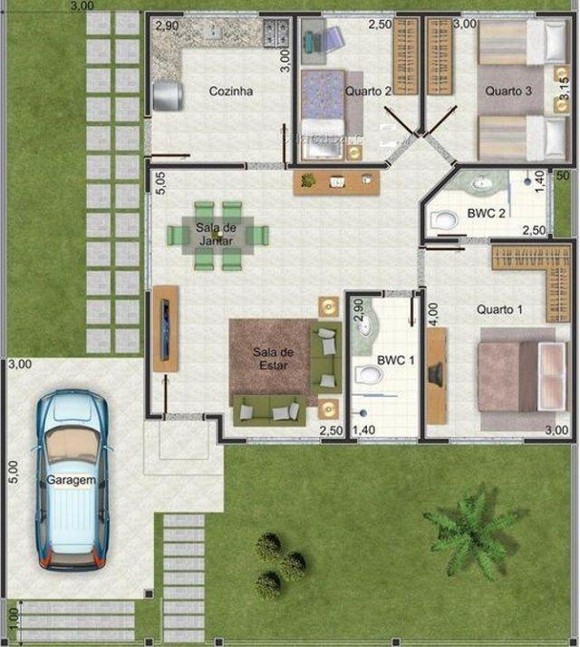 Plano de casa de 90 m2 planos de casas pinterest for Decoracion casa 90m2