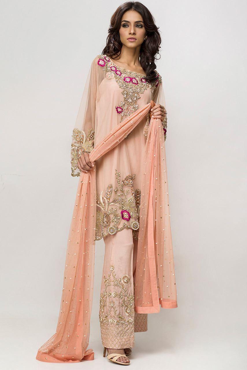 Deepakperwani net tunic autumn blush in pink