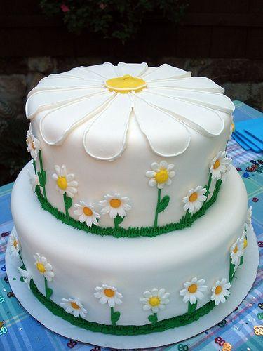Fantastic Birthday Cake Daisy Pattern Fondant Idee Torta Torte Topper Funny Birthday Cards Online Elaedamsfinfo
