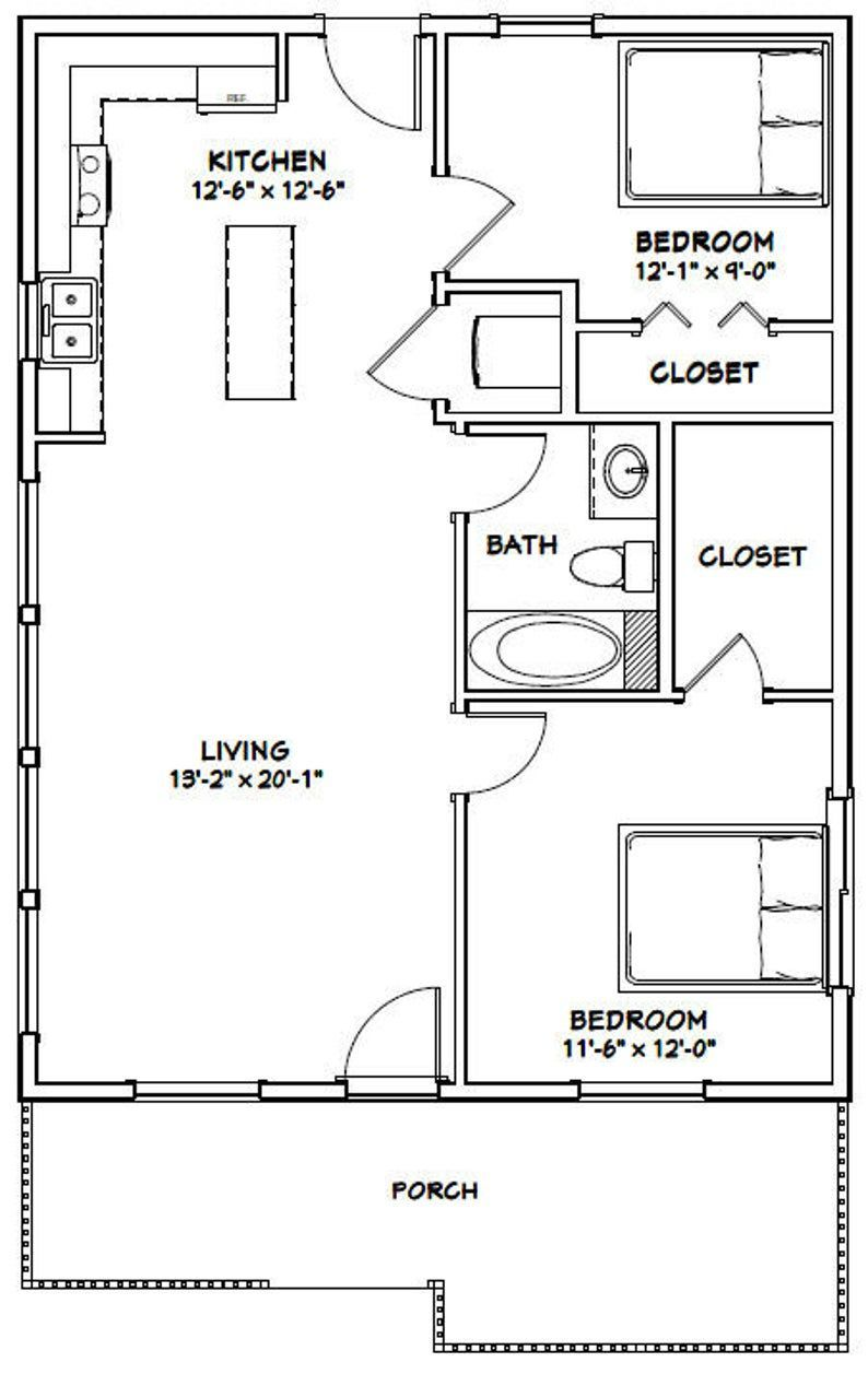 2634 House 2Bedroom 1Bath 884 sq ft PDF Floor Plan