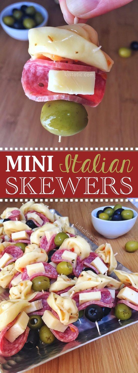 Easy Mini Italian Appetizer Skewers #tailgatefoodmakeahead
