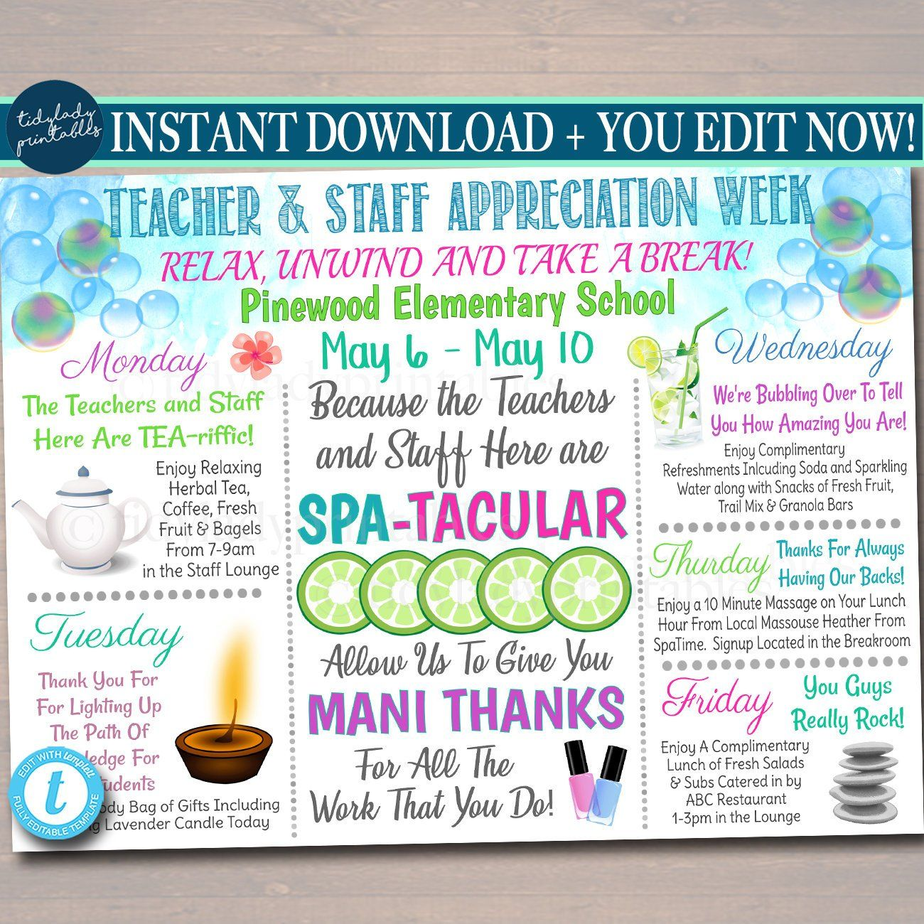 Editable Spa Themed Teacher Appreciation Week Itinerary Poster