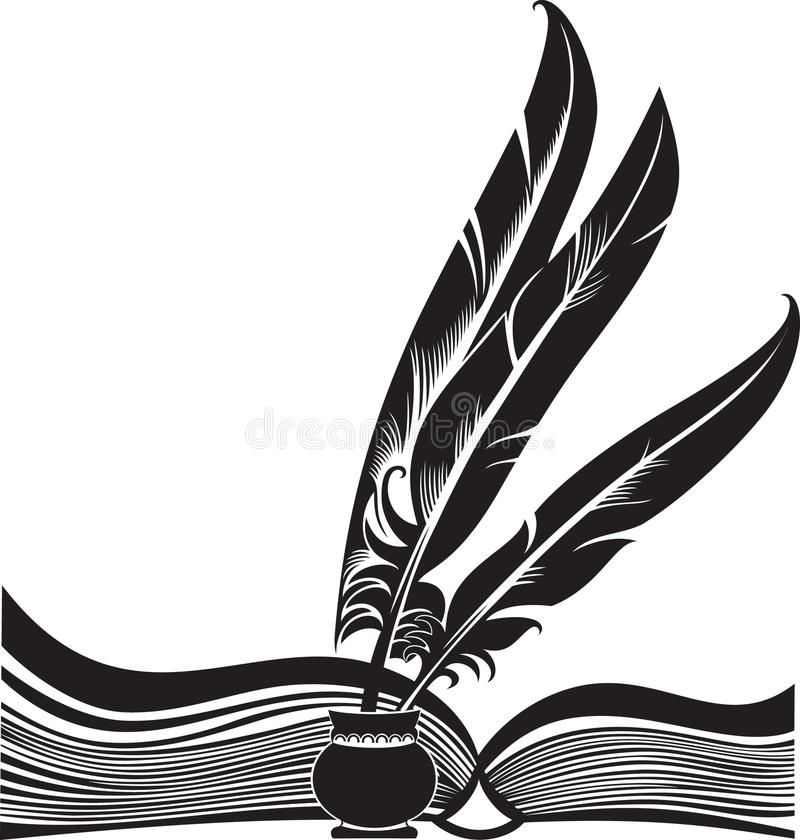 Book And Quills Black Silhouette Of The Opened Book And Three Quills Affiliate Black Quills Book Boo Black Silhouette Silhouette Stencil Book Icons