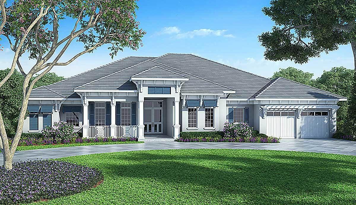 Plan 86017BW: Florida House Plan with Detached Bonus Room | Florida ...