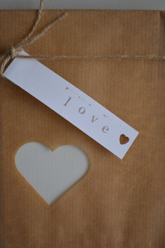 Kraft papieren zakjes met klein hart venster set van door SierGoed