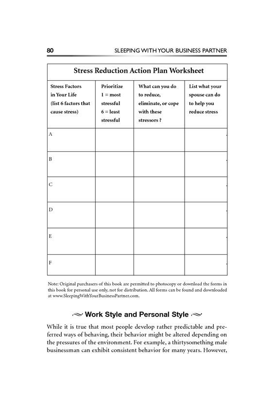 stress reduction plan template