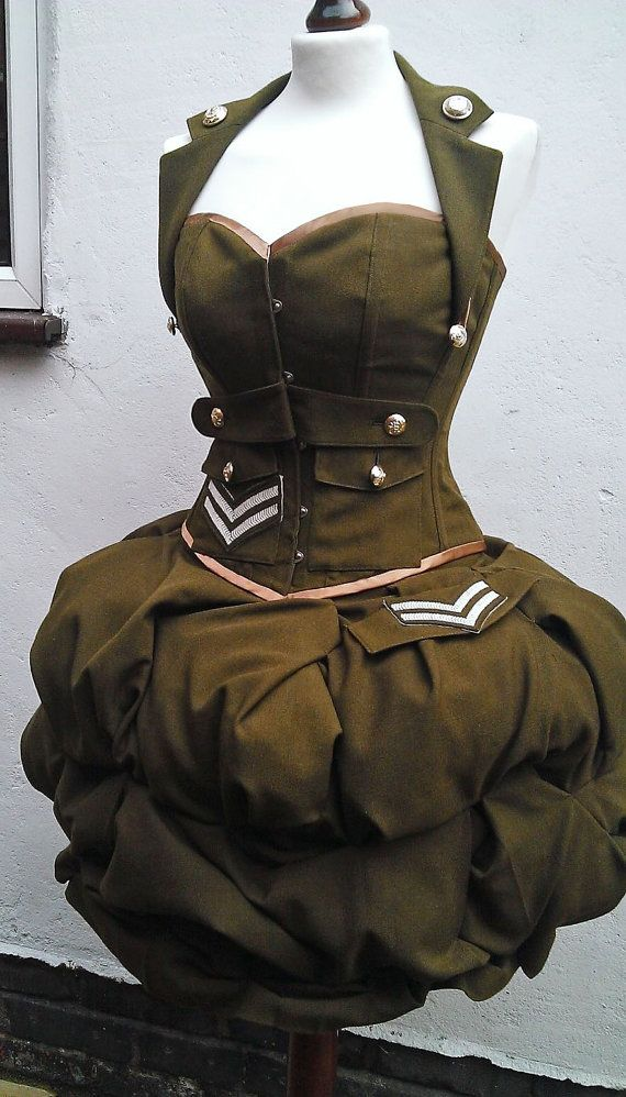 Steampunk corset and skirt- Military costume- armed forces cosplay. MADE TO ORDER