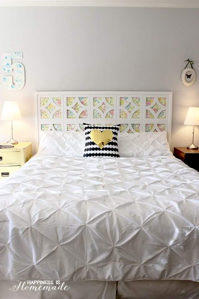 Homemade Bed Headboard Idea In Artistic Design