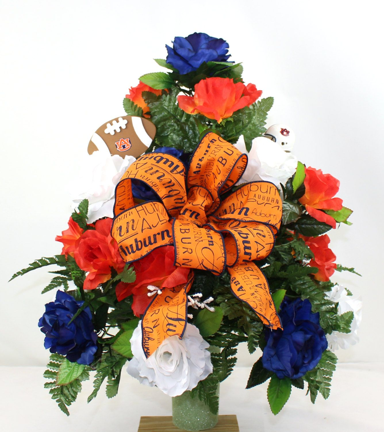 Auburn Tigers Navy Orange And White Roses 3 Vase Cemetery