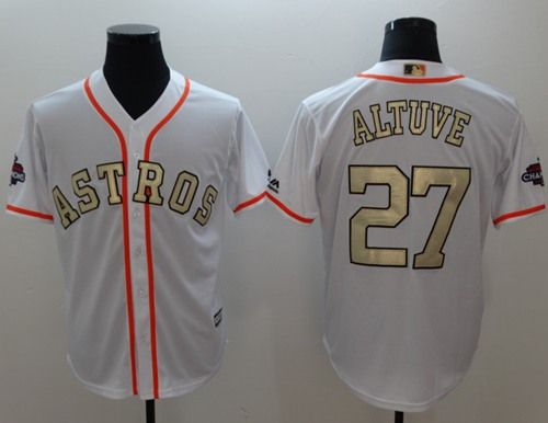 dc5e76ae5 Astros  27 Jose Altuve White 2018 Gold Program Cool Base Stitched MLB Jersey