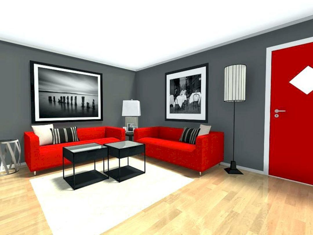 20 Best Red Living Room Paint Color Decoration Ideas Teracee Grey Walls Living Room Red Living Room Walls Grey And Red Living Room