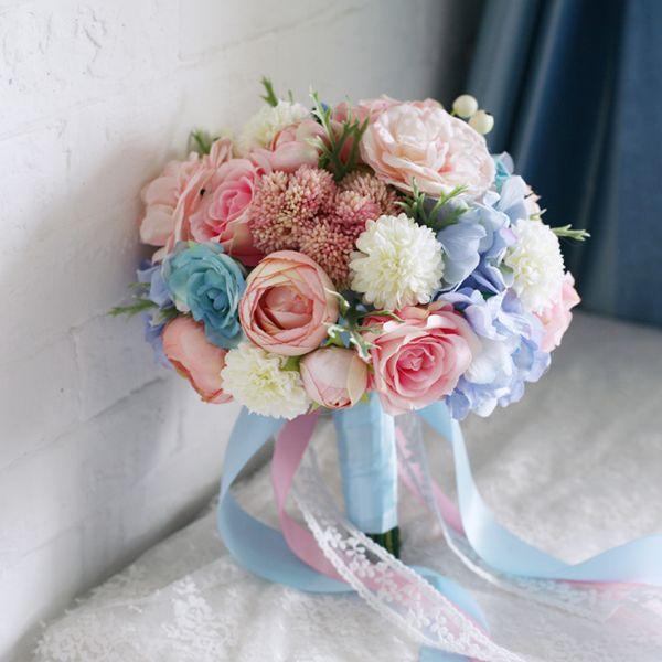 High Simulation Fabric Flowers Bridal Bridesmaids Bouquet Light Pink Blue Purple Roses Outdoor Theme Wedding Photography Jpg 600