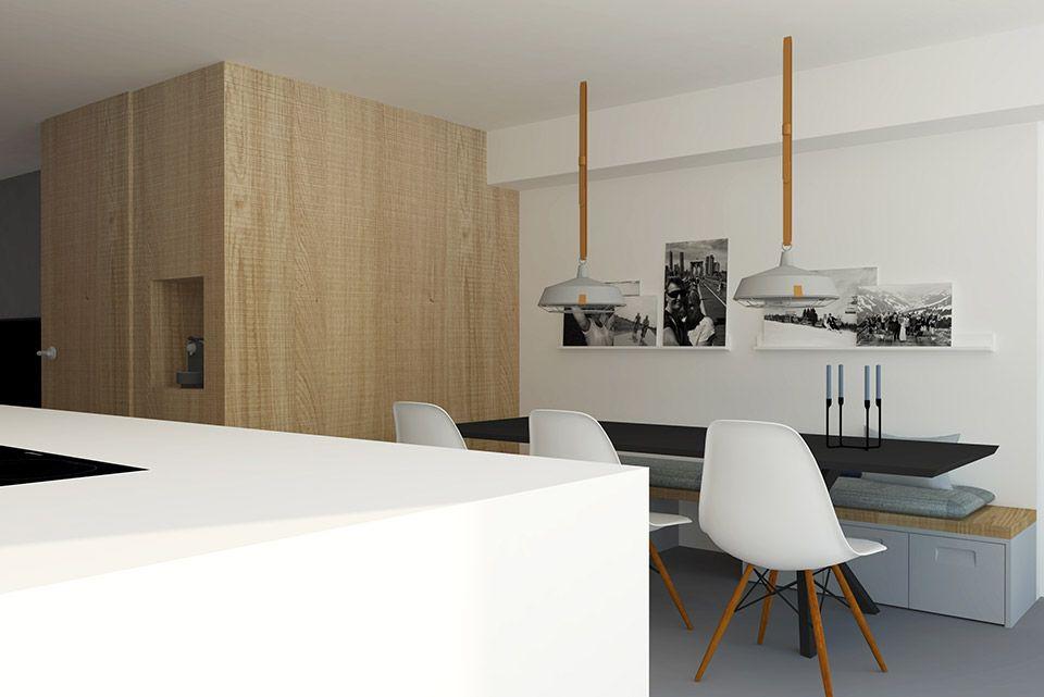 Kookeiland In Woonkamer : Moderne woonkamer met groot kookeiland en gietvloer adrianne van