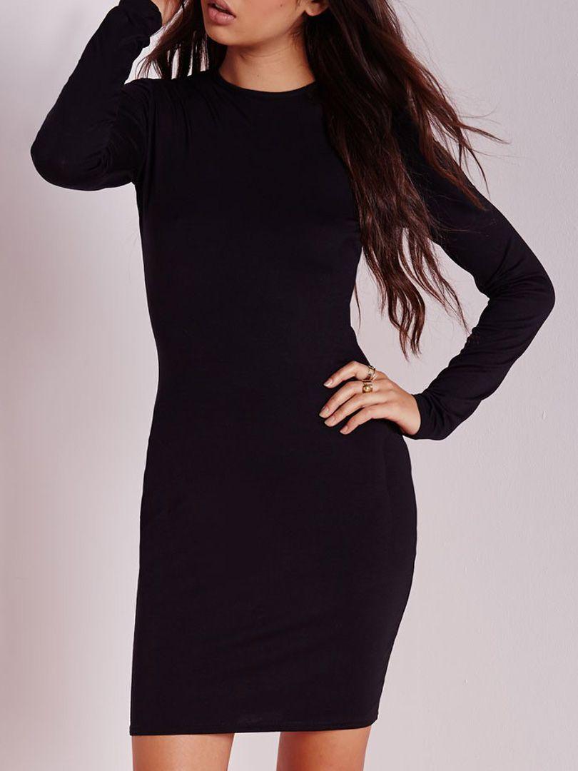 2e4d113c8738c Shop Black Plain Long Sleeve Stretch Bodycon Dress from choies.com ...