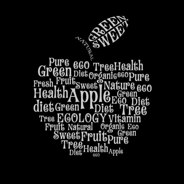 free vector Text composed of vector apple