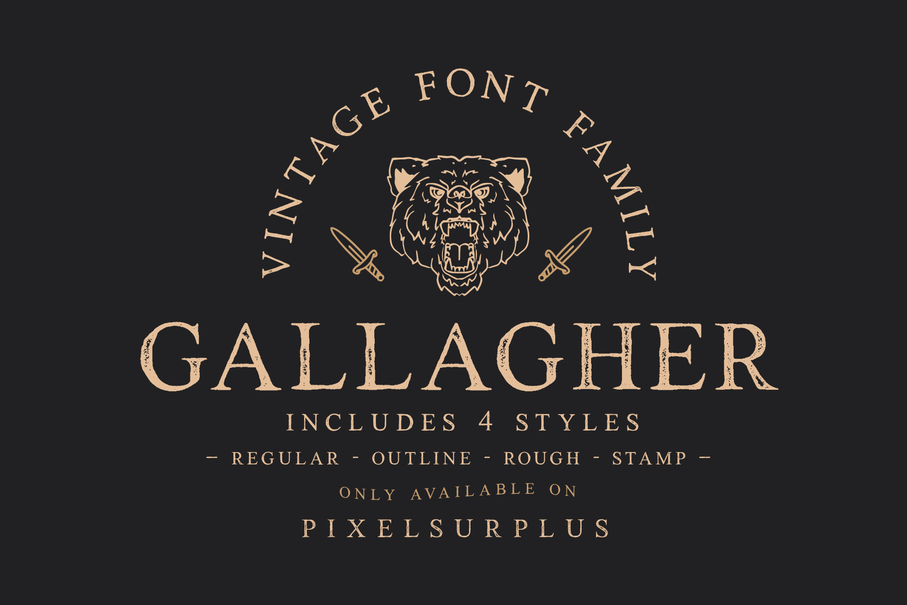Gallagher Is A Handcrafted Vintage Font Available In 4 Styles Regular Rough Stamp Outline That Makes Gallaghe Vintage Fonts Serif Fonts Serif Typeface