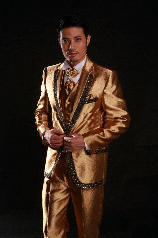 Latest Coat Pant Designs Italian Gold Satin Men Suit Prom Jacket ...