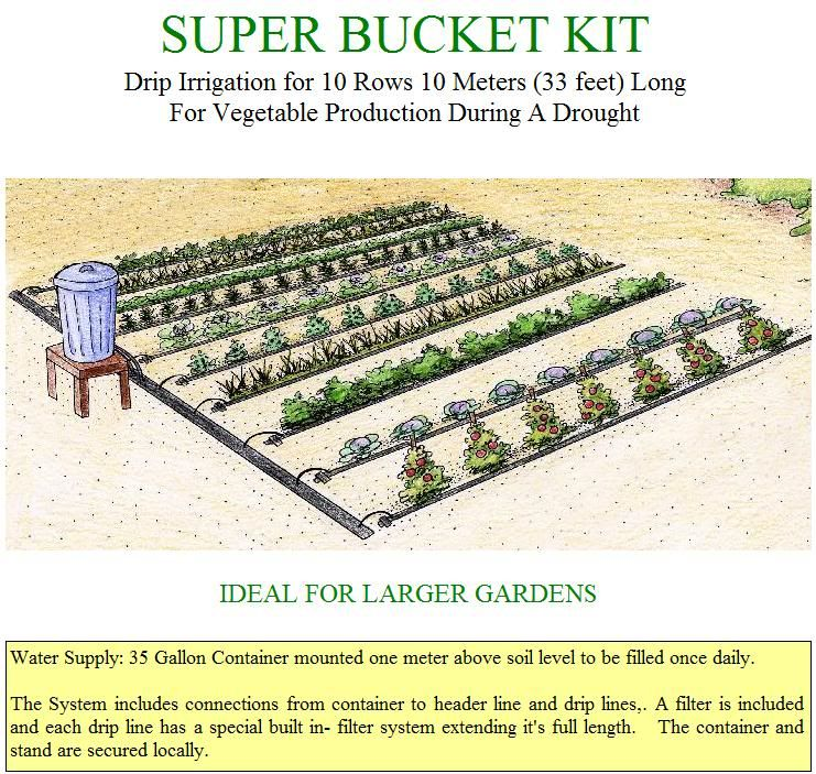 Gravity drip bucket irrigation systems for vegetable for Home garden drip irrigation design