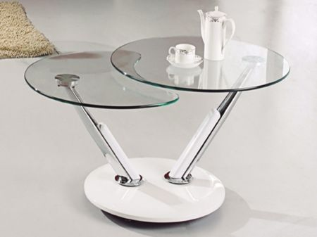 Berline Clear Rotating Glass Coffee Table With White Base