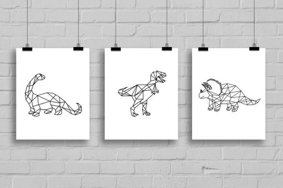 Geometric Dinosaur Art Set Bundle - 8x10 Black and White, Printable, Playroom, Boy Art, Trex, Tyrannosaurus, Triceratops, Brontosaurus
