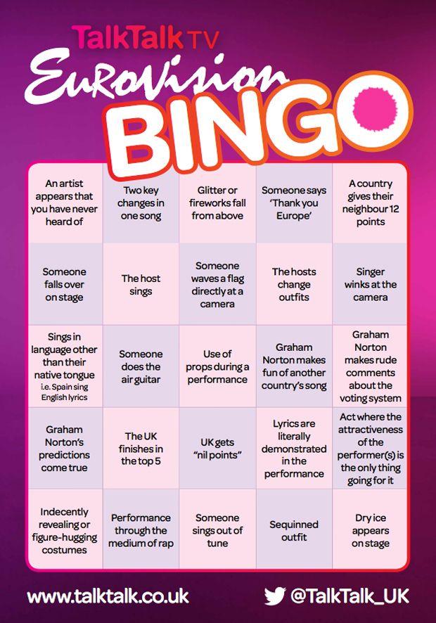 Play Eurovision Bingo Other Eurovision 2017 Eurovision Drinking