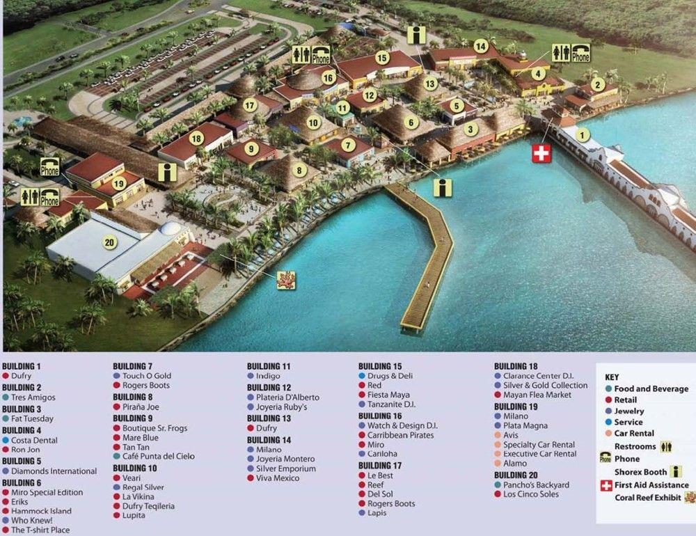 Cozumel Cruise Port Map Carnival S Puerta Maya Terminal