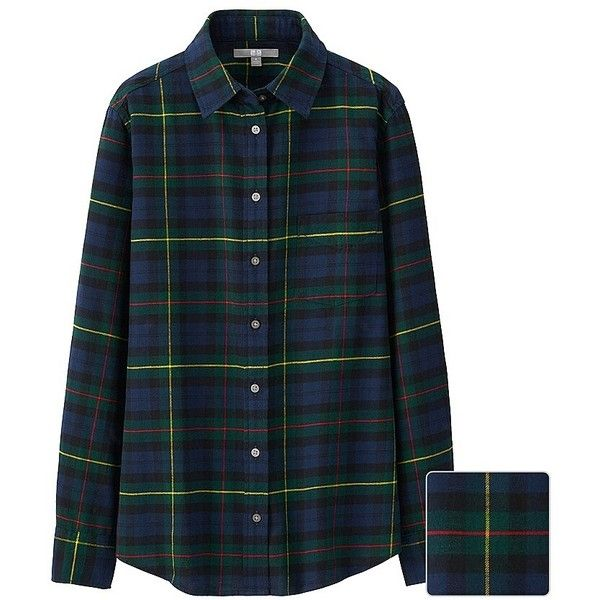 UNIQLO Women Flannel Check Long Sleeve Shirt ($30) ❤ liked on ...