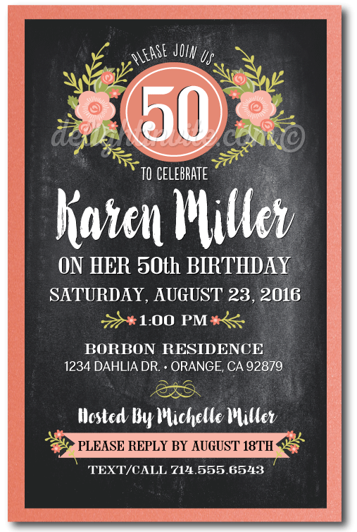 Vintage Floral Chalkboard 50th Birthday Invitations For Women