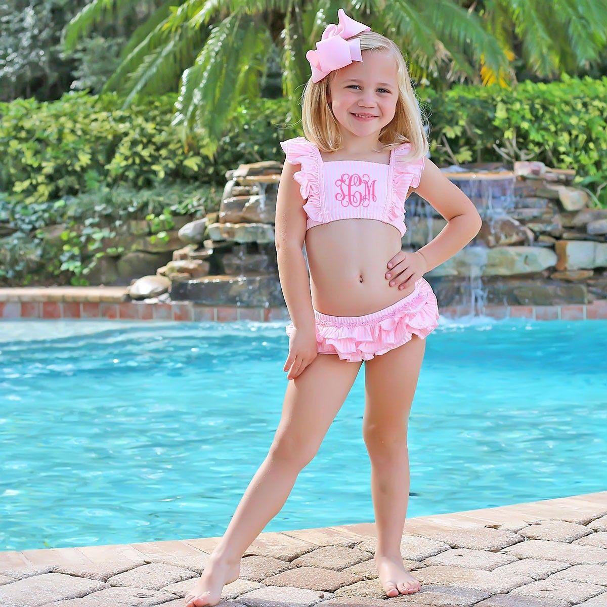 Girls ruffled swimsuit  monogrammed girls swimsuit  seersucker swimsuit