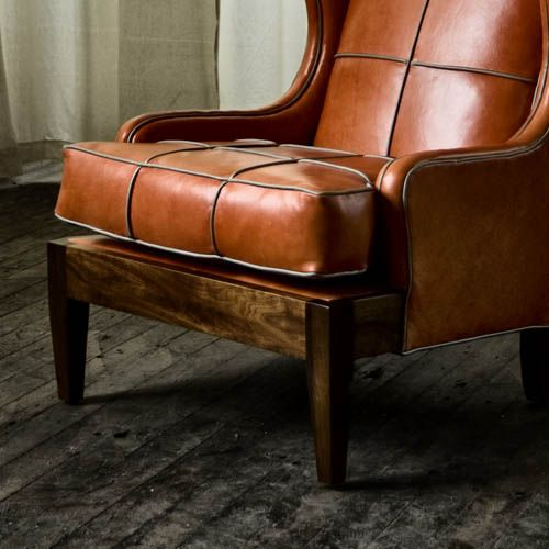 Beautiful Royal Chair With Tomato Leather And Limestone Leather Piping