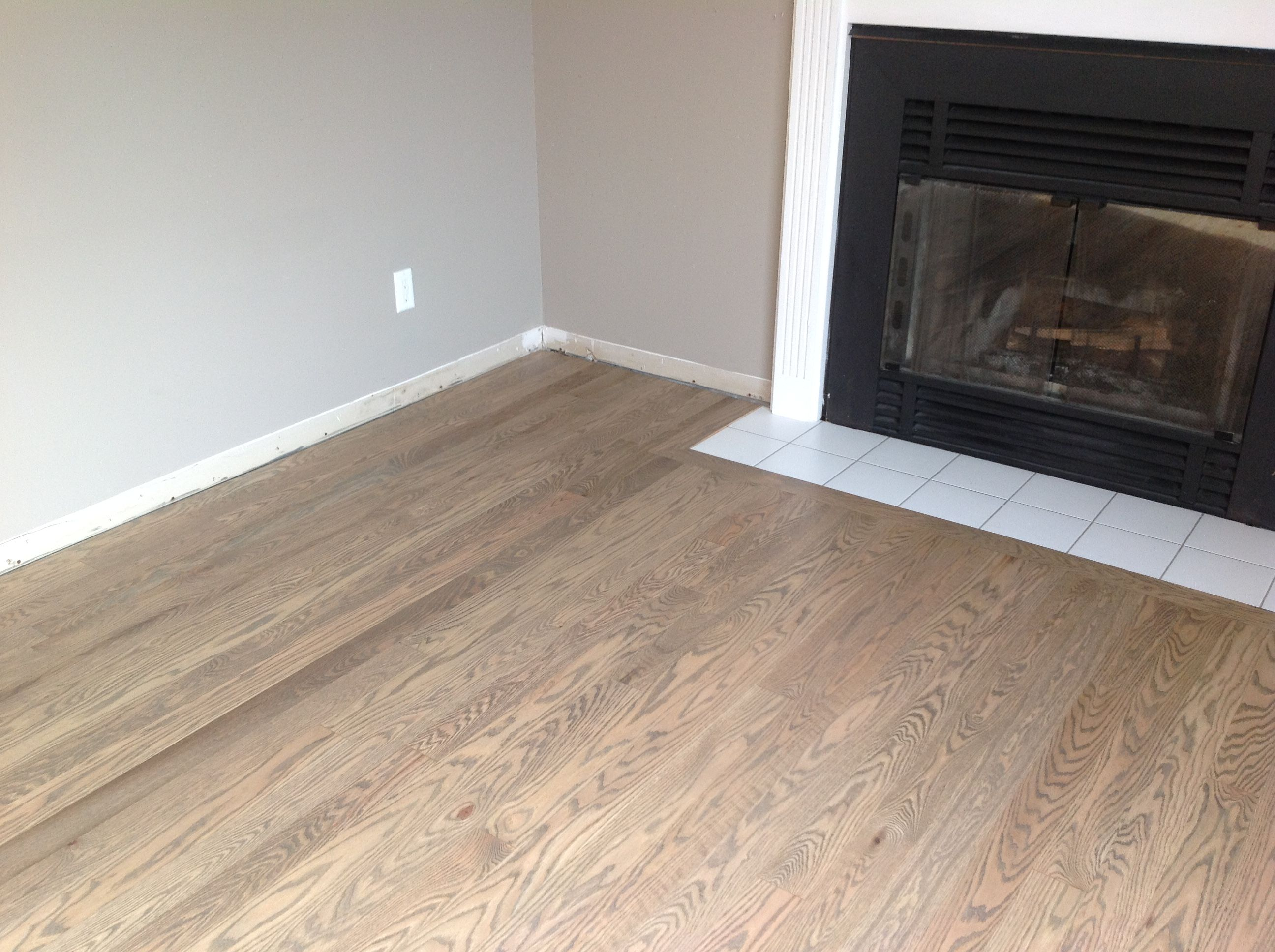 Red Oak Refinished With Half Weathered Oak And Half Grey Appear More Weathered Oak Then Grey When Not Against Grey Stained Wood Oak Floor Stains Red Oak Floors