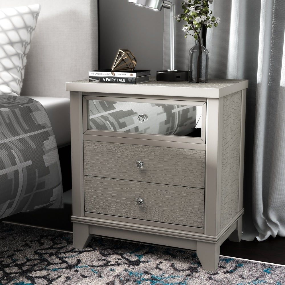 Furniture Of America Kivo Modern Silver Solid Wood 3 Drawer Nightstand Silver Gray In 2020 Furniture 3 Drawer Nightstand Nightstand