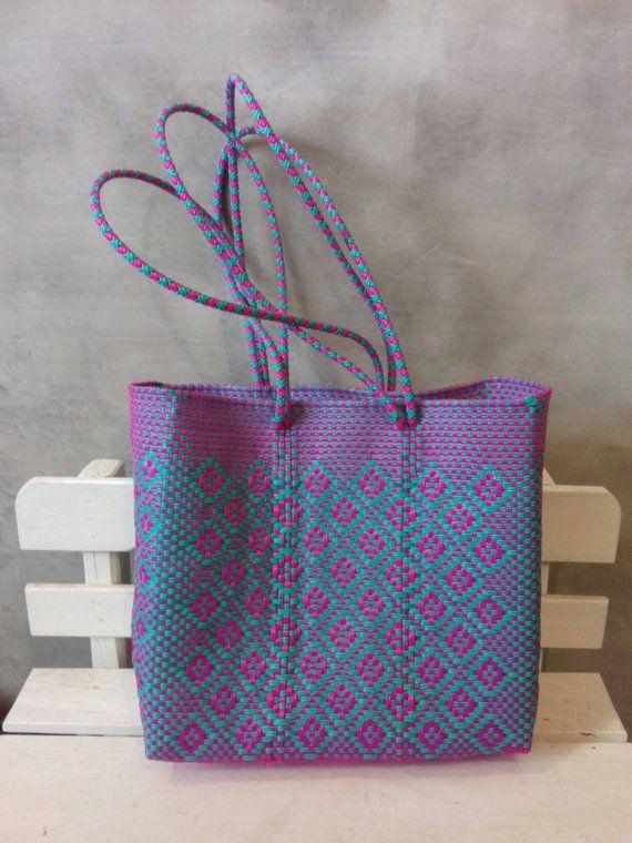 Medium bag, woven  Mexican Handycraft bag, handwoven with plastic