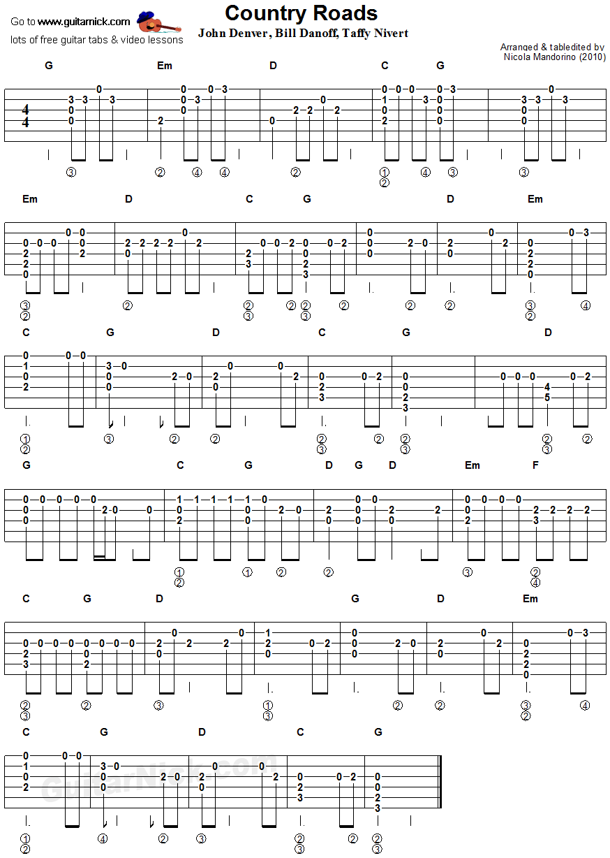 Country Roads Flatpicking Guitar Tablature
