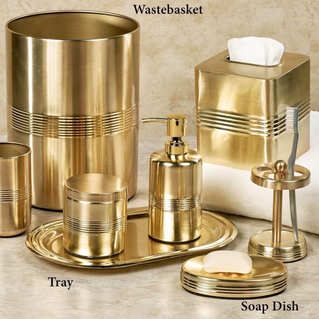 Bathroom Terrific 8 Piece Gold Bathroom Accessories With Wastebasket Gold Bathroom Accessories Silver Bathroom Accessories Gold And Silver Bathroom