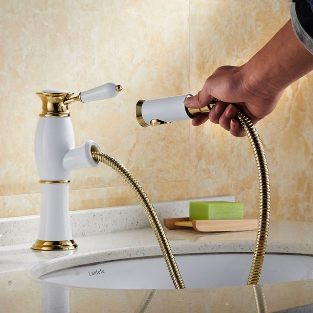 Luxury White & Golden Single Lever Brass Pull Out Bathroom Vessel ...