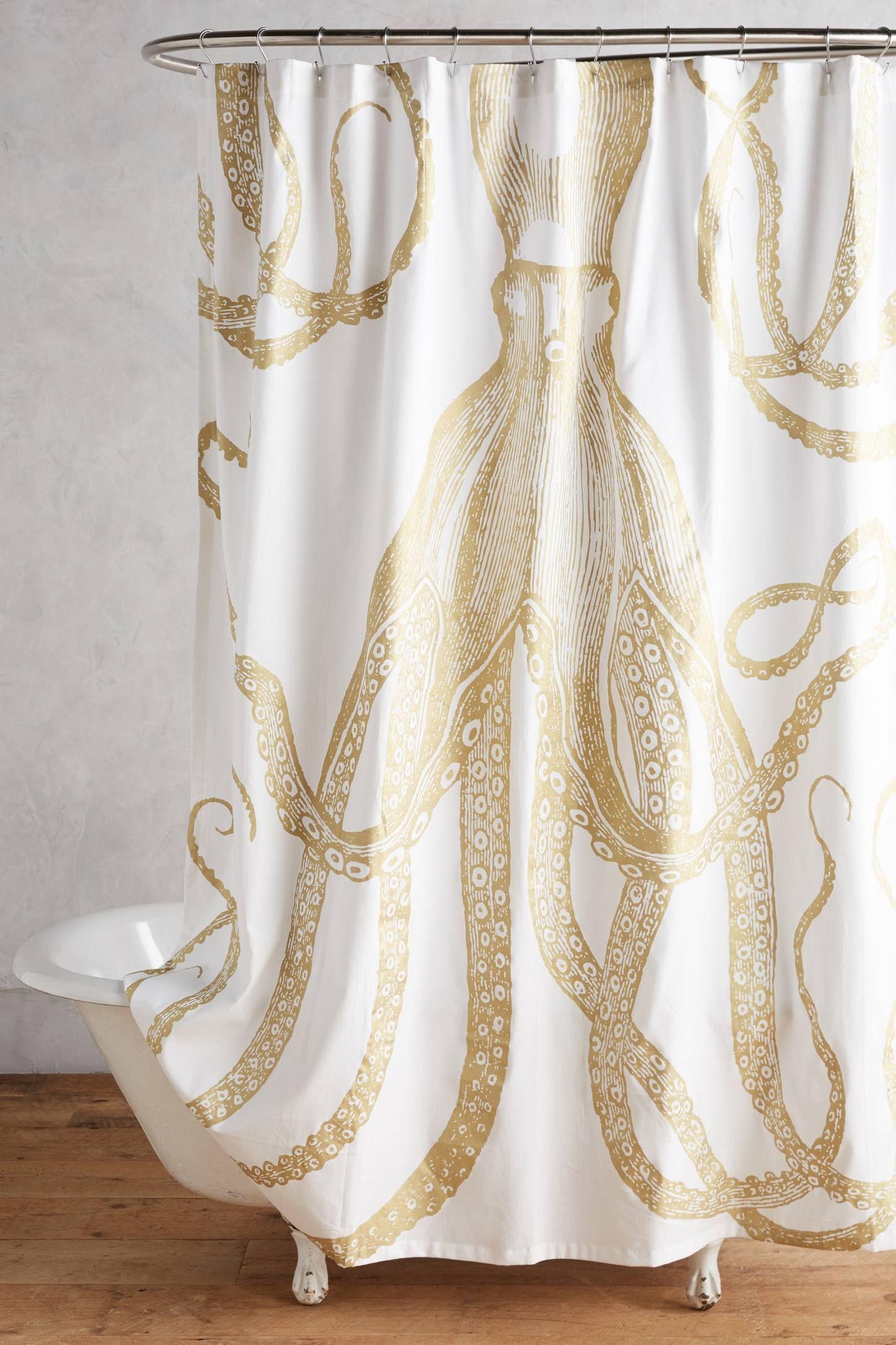 Kraken shower curtain - Golden Octopus Shower Curtain