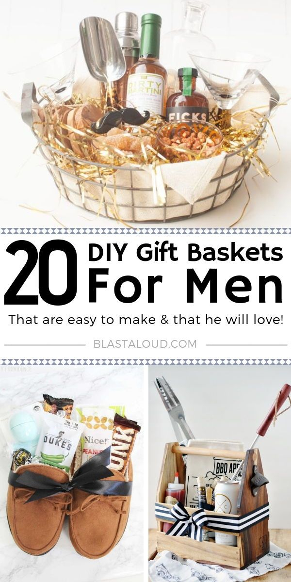Gift Baskets For Men: 20 DIY Gift Baskets For Him That He Will Love #gifts