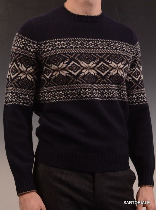 BRUNELLO CUCINELLI Blue Fair Isle Cashmere Crewneck Knit