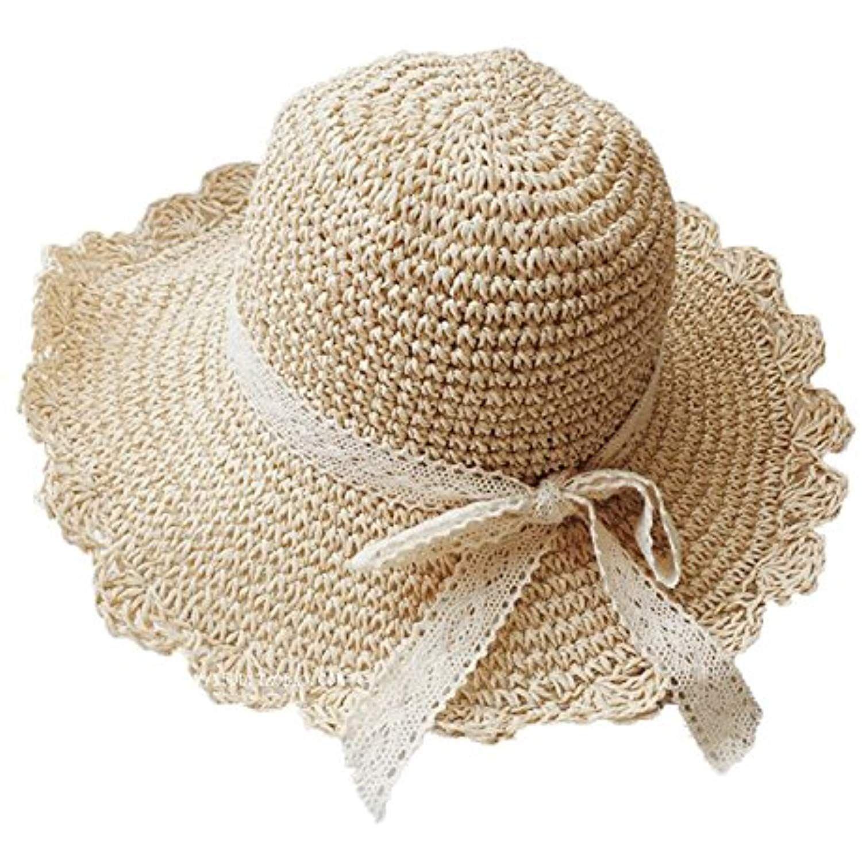 Adult Kids Sun Straw Bucket Hat Folding Elegant Lace Bow Large Brim Sun Shade Cap Uv 50 Summer Surf Safari Hat Sunhat Lace Bows Sun Protection Hat Safari Hat