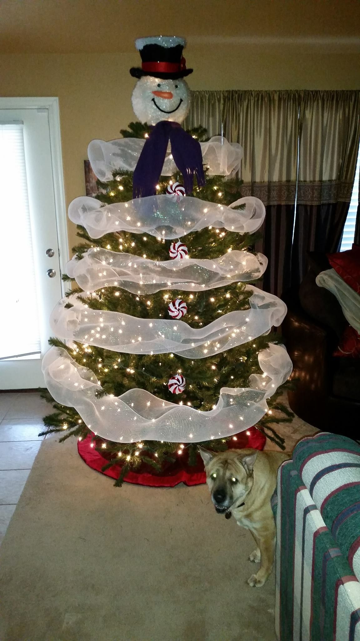 my great nieces adorable snowman christmas tree the tree topper is from