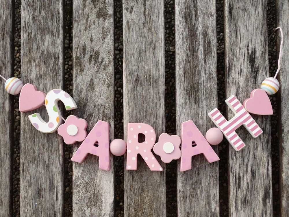 Sarah Wooden Name Sign Wall Letters Door Decoration Baby Shower Nursery Shabby Nostalgiespiel Letter Wall Wall Letters Nursery Wall Signs