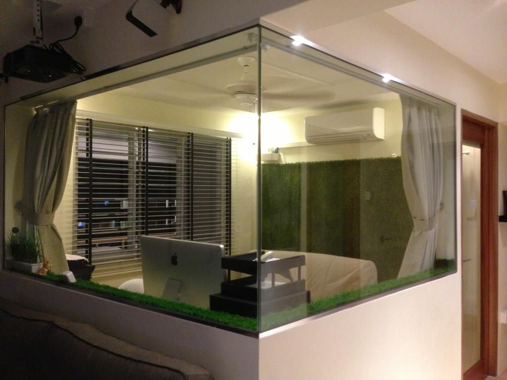 Half Height Glass Wall Lets In Natural Light In The Day Helps To