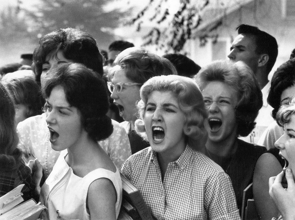 White HS students cursing black students on the first day that public  schools were integrated in Montgomery, 1963