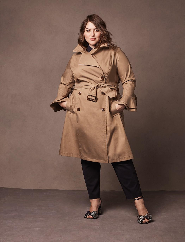 Eloquii Ruffle Sleeve Trench Coat Khaki 18 20 Trench Coat Plus Size Trench Coat Khaki Trench Coat Outfit [ 1370 x 1050 Pixel ]