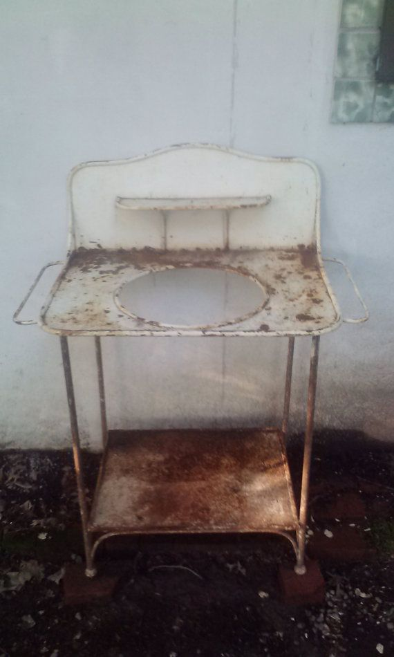 Antique Metal Wash Stand By Elwoodbydesign On Etsy 125 00 Antique Wash Stand Wash Stand Antique Metal
