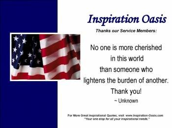Poster - Thanks to our Service Members - Free When You Signup for my Ezine at   http://www.inspiration-oasis.com/free-inspirational-posters.html
