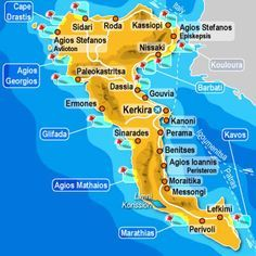 Greece Corfu Map Small Pinteres