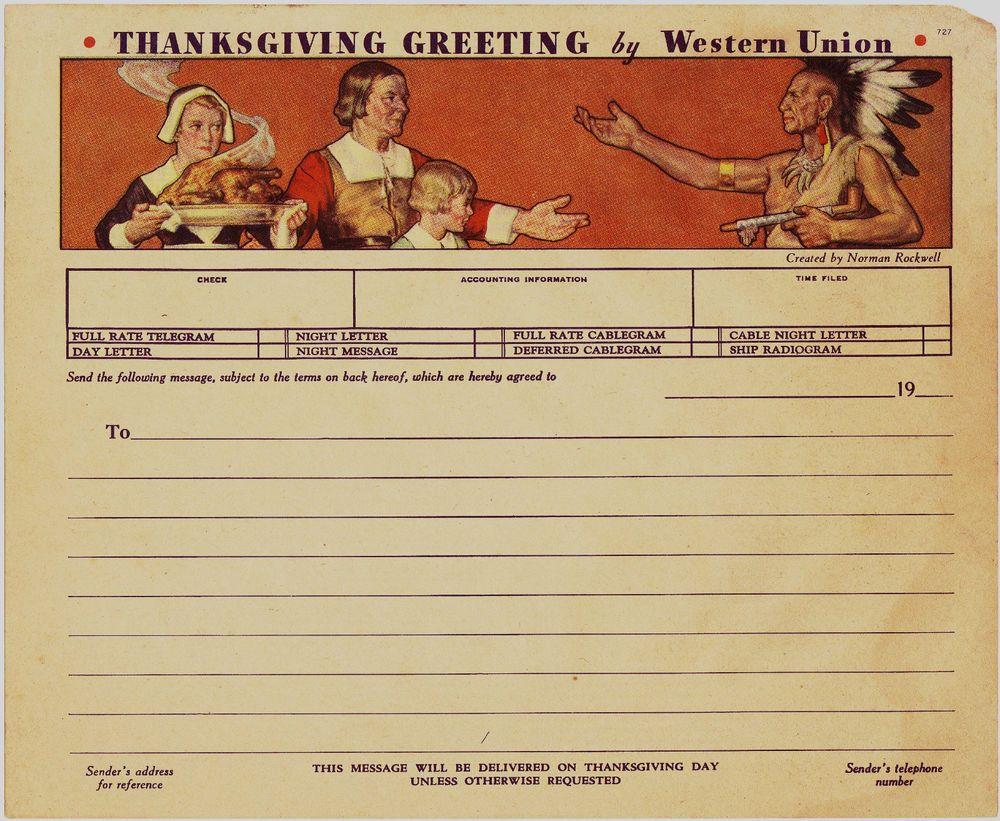 1930s NORMAN ROCKWELL WESTERN UNION TELEGRAM THANKSGIVING GREETING UNUSED