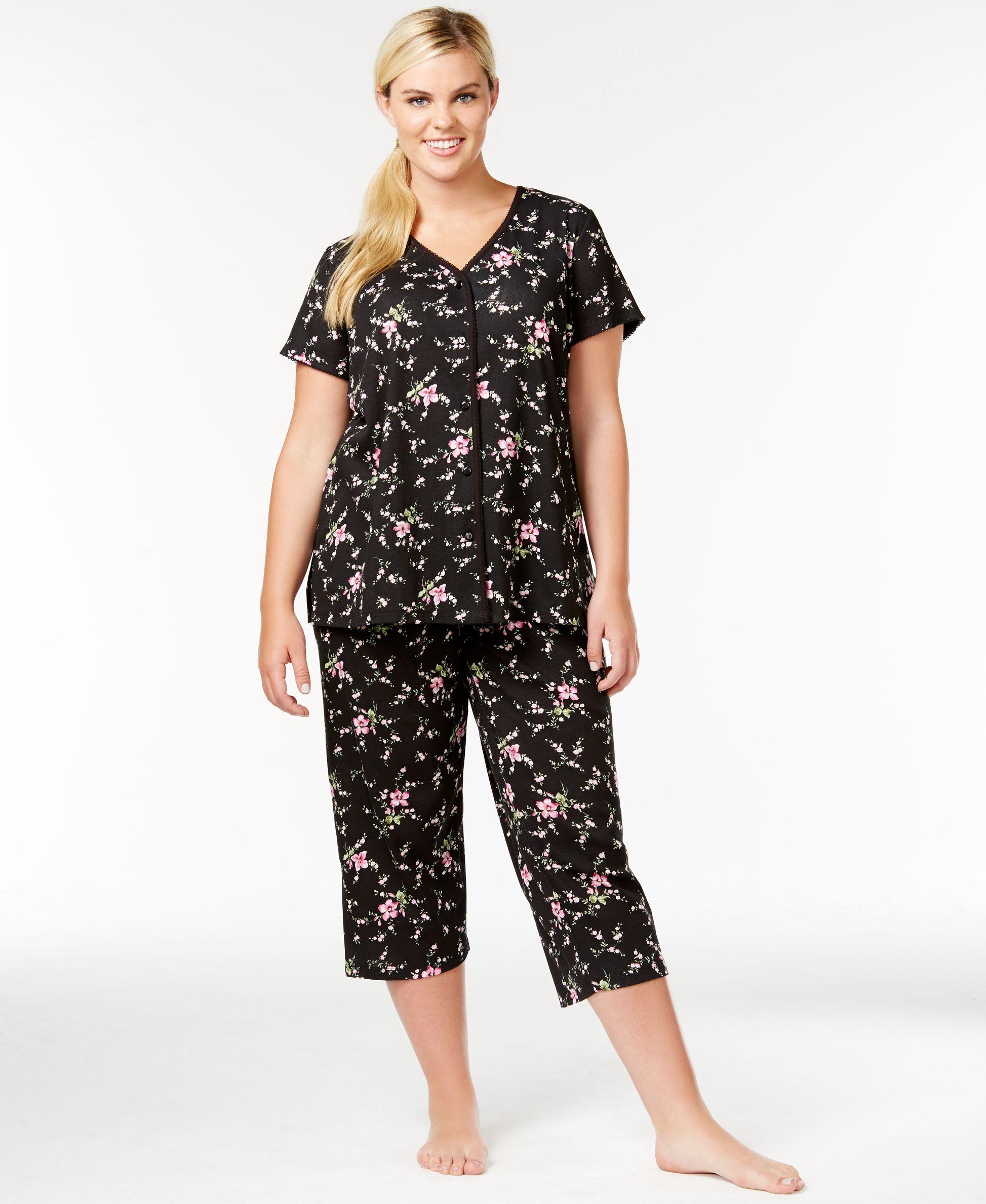 Charter Club Plus Size Top and Capri Pajama Pants Set